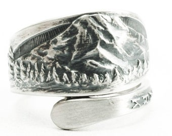 Mt Rainier National Park Ring, Sterling Silver Spoon Ring, Washington Mountain Landscape Ring, Gift for Hikier, Adjustable Ring Size (7387)