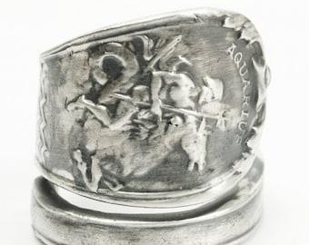 Aquarius Ring, Zodiac Ring, Sterling Silver Spoon Ring, Poseidon Trident, Sea Horse, January Jewelry, Aquarius Jewelry, Adjustable Ring 7179