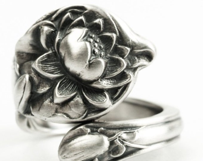 Petite Lotus Ring, Sterling Silver Spoon Ring, Lotus Blossom, Pond Lilly, Water Lily, Antique Watson Flower Ring, Adjustable Ring Size, 7233