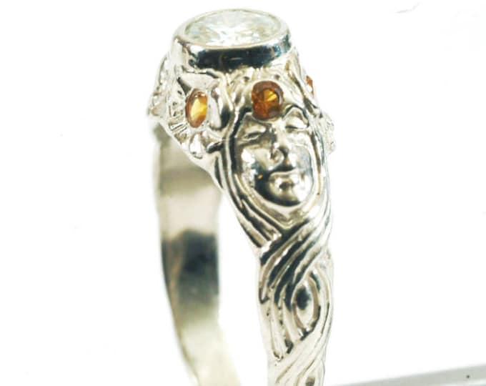 Art Nouveau Goddess Ring, 10K White Gold Wedding Band, 10K Gold Ring, White Moissanite and Yellow Sapphires, White Gold Flower Ring (V3753)