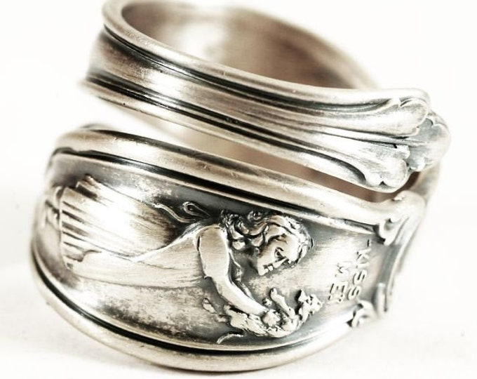 "Girl and Puppy ""Kiss Me"" Sterling Silver Spoon Ring Antique Wallace Flatware, Handcrafted Gift for Her, Adjustable Ring Size 8 9 10 (7400)"