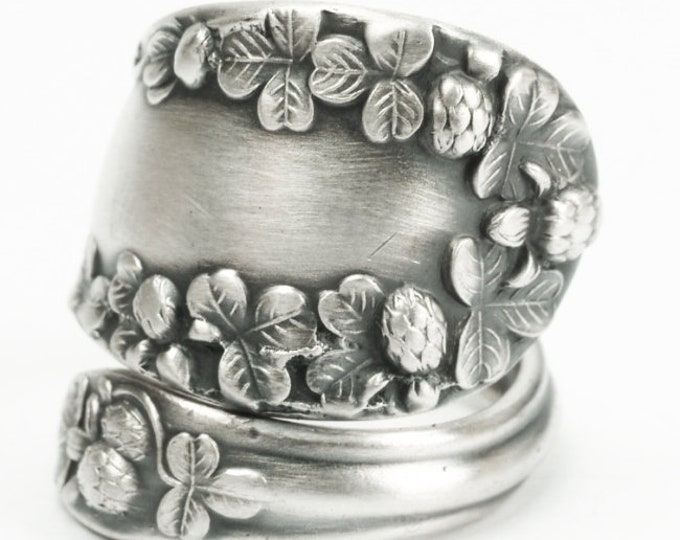 """Three Clover Ring, 3 Leaf Clover, Good Luck, Lucky Spoon Ring Sterling Silver, Antique Joseph Mayer """"Clover"""" of 1906, Custom Ring Size, 7175"""