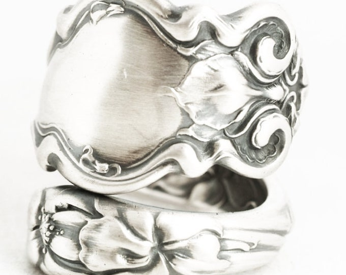 Iris Ring, Art Nouveau Flower Ring, Sterling Silver Spoon Ring, Wallace Antique Spoon Ring 5th Anniversary Gift, Adjustable Ring Size (7056)