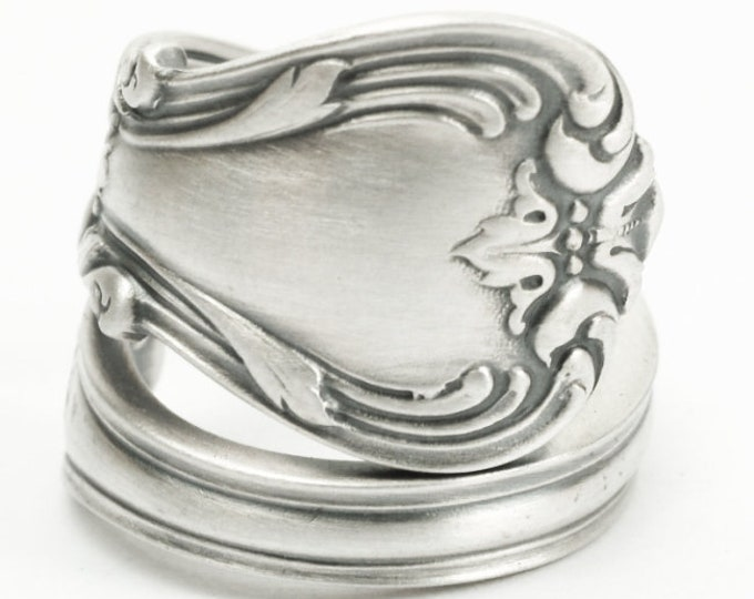 Sterling Silver Spoon Ring, Classic Victorian Silver Ring, Antique Weidlich Silver, Handcrafted Flower Ring, Personalized Ring Size (7183)