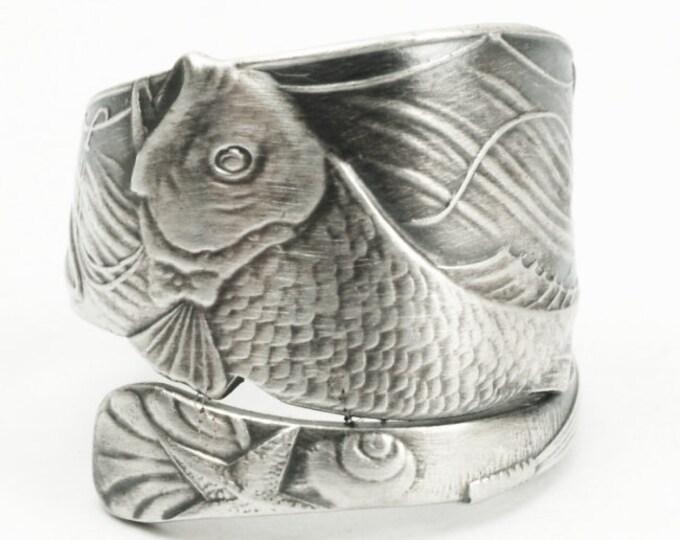 Fish Ring, Sterling Silver Spoon Ring, Ocean Ring, Sea Ring, Beach Ring, Fish Jewerly Men, Fishing Ring, Fly Fishing, Adjustable Ring (7186)