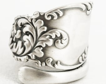 925 Antique Spoon Ring in Vintage Victorian Floral and Rococo in Sterling Silver in Whiting 1893 Tyrolean, Handmade Adjustable Size (7060)