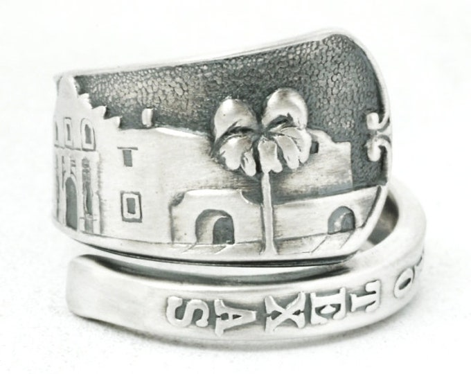 Texas Ring, Sterling Silver Spoon Ring, San Antonio The Alamo Ring, Texas Love, Handmade Jewelry, Eco Friendly, Adjustable Ring Size (7100)