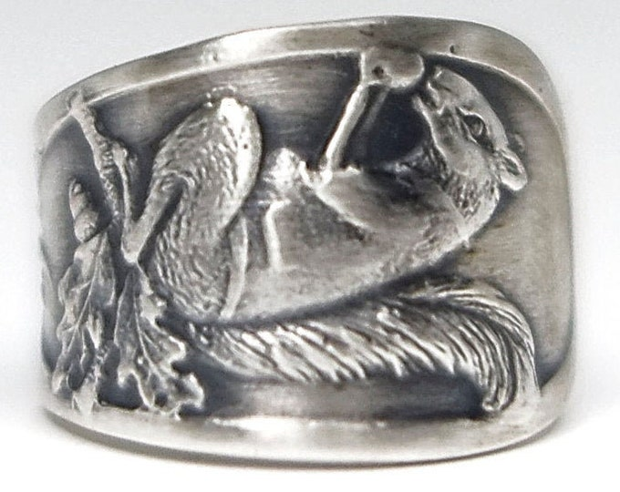 Squirrel Pinky Ring, Sterling Silver Spoon Ring, Small Size 3, Jack Squirrel, Woodland Animal, Forest Animal Jewelry, Nature Inspired (7905)
