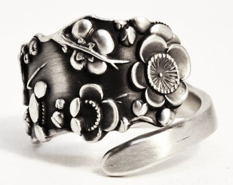 Cherry Blossom Ring, Sterling Silver Spoon Ring, Cherry Blossom Jewelry, Asian Flower Ring, JapaneseFloral Ring, Adjustable Ring Size (7517)