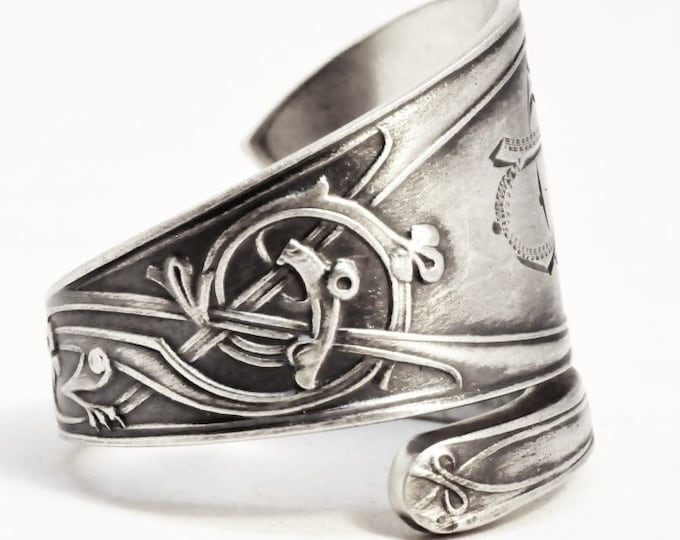 Nordic Tribal Dragon Ring, Silver Spoon Ring, Rare Antique 830 Silver Norse Design, Handmade Gift for Him of Her, OB, Adjustable Size (7513)