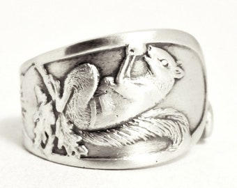 Squirrel Ring, Sterling Silver Spoon Ring, Squirrel Jewelry, Jack Squirrel Woodland Animal Ring, Forest Animal Jewelry, Nature Inspired 7542