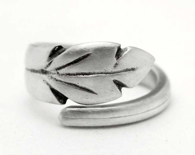 Dainty Leaf Ring, Sterling Silver Spoon Ring, Minimalist Ring, Organic Botanical Ring, Natural Floral Jewelry, Adjustable Ring Size (7799)