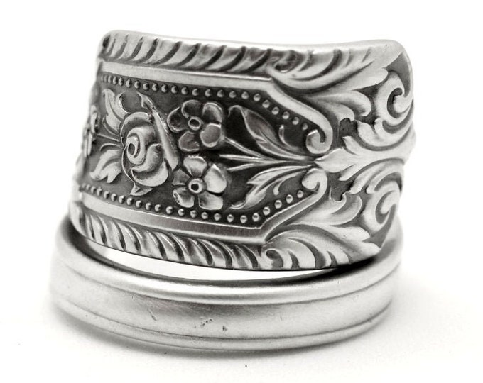Rose Ring,  Sterling Silver Spoon Ring, Westmorland Milburn Rose, Floral Jewelry, Flower Lover Gift, Adjustable Ring Size 7 8 9 10 11 (7777)