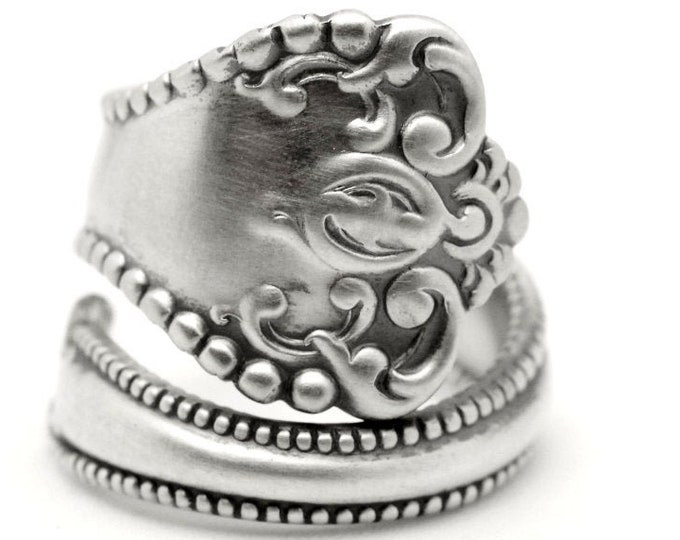 "Milgrain Victorian Ring, Sterling Silver Spoon Ring, Handmade Silver Gift for Her, Antique Alvin 1900 ""Raleigh"", Adjustable Ring Size (7381)"