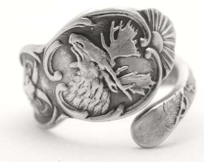 Moose Ring, Sterling Silver Spoon Ring, Ram Ring, Horse of Alaska Ring, Mining Ring, Made in Alaska, Small Ring, Adjustable Ring Size (5996)