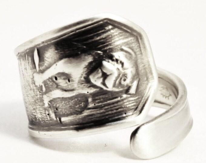 Pug Dog or British Bulldog Ring, Spoon Ring Sterling Silver, Dog Lover Jewelry, Animal Ring, Handmade Jewelry, Custom Ring Size 3 4 5 (7522)