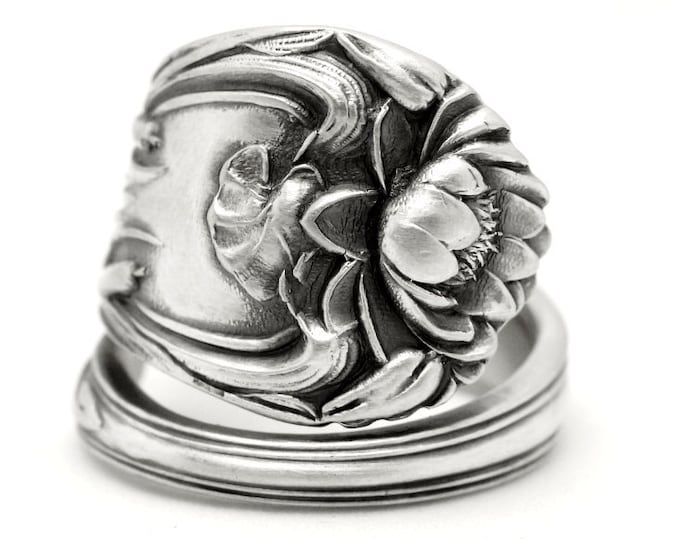 Lotus Blossom Ring, Antique Sterling Silver Spoon Ring, Shepard Co Pond Lily Ring, Lotus Flower Ring, Lotus Jewelry, Adjustable Ring (7786)