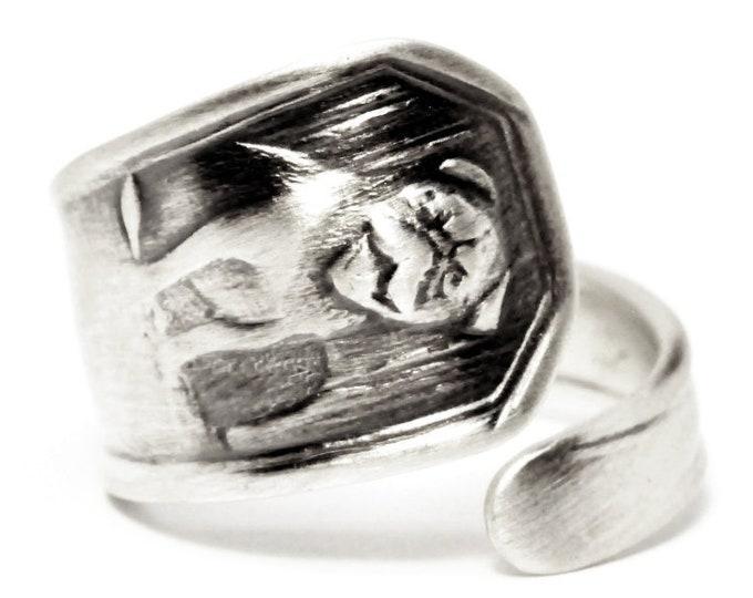 Pug Dog or British Bulldog Ring, Spoon Ring Sterling Silver, Dog Lover Jewelry, Animal Ring, Handmade Jewelry, Custom Ring Size 3 4 5 (5468)
