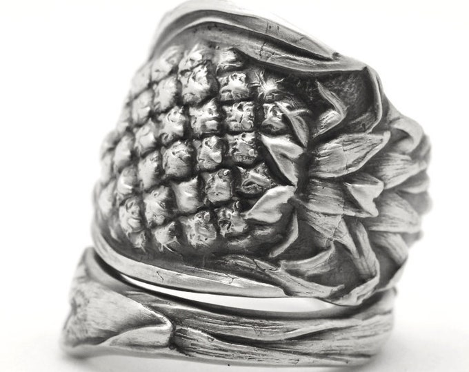Pineapple Ring, Sterling Silver Spoon Ring, Pineapple Jewelry, Fruit Jewelry, Hawaii Art, Food Jewelry, Unique Adjustable Ring Size (6702)