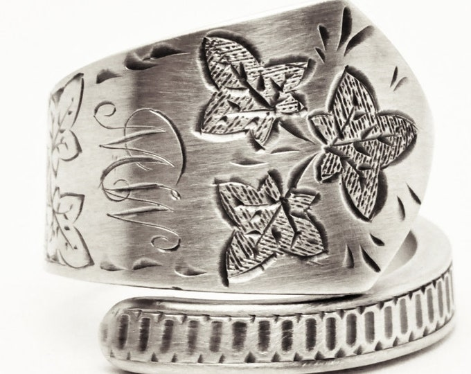 Sterling Silver Leaf Ring, Antique Glasgow Scottish Spoon Ring, Etched Vine Leaves ca 1889, Engraved MW Mono MW, Adjustable Ring Size (7609)