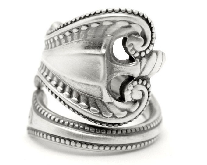 """Sterling Silver Spoon Ring, Swirl Ring, Wrap Ring, Towle Sterling """"Old Colonial"""", Victorian Ring Him or Her, Adjustable Ring Size 8 9 (7767)"""