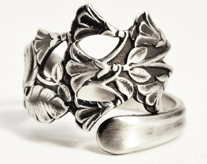 Bluebell Ring, Floral Victorian Ring, Norwegian Jewelry, Nordic 830 Sterling Silver Spoon Ring, Handmade Adjustable Ring Size 5 6 7 8 (7519)