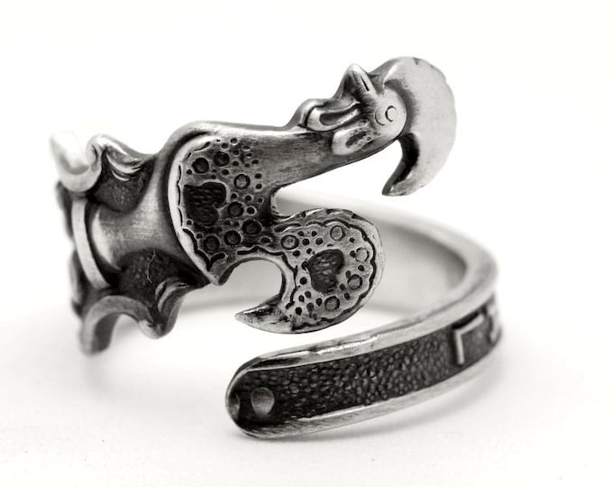 Stunning Portugal Rooster Spoon Ring in Sterling Silver, Antique Portugal Souvenir Gift, Portuguese Chicken Ring, Adjustable Ring Size, 7790