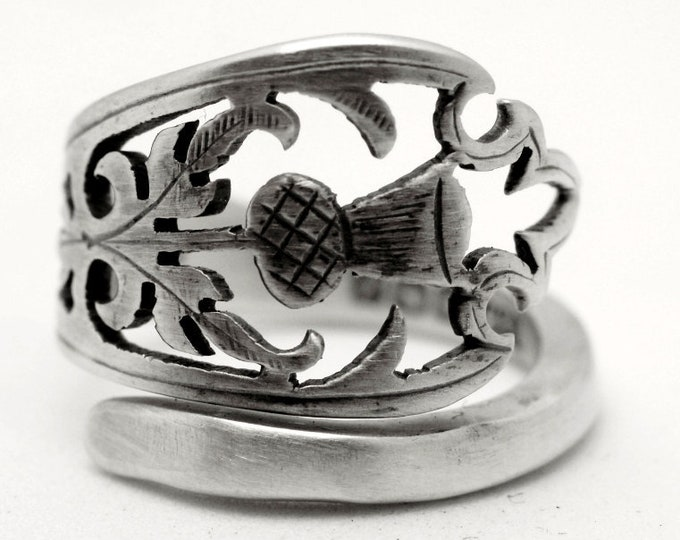 Thistle Ring, Sterling Silver Spoon Ring, Antique British Flatware 1779 George Hape, 925 Thistle Jewelry, Unique Adjustable Ring Size (7792)