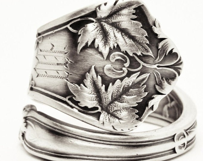 Maple Leaf Jewelry, Nature Inspired Ring, Sterling Silver Spoon Ring, Gift for Her, Engraved M or W, Antique Edgewood, Adjustable Ring, 7610