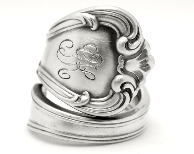 Chunky Victorian Spoon Ring, Sterling Silver Spoon Ring, Minimalist Ring, Gorham Silver 1910 Buckingham, Engraved GK, Adjustable Ring (7794)