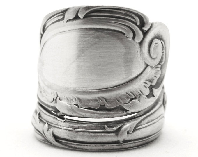 Rococo Ring, Sterling Silver Spoon Ring, Antique Reed & Barton La Rocaille 1890, Organic Morning Glory Flower, Adjustable Ring Size (7761)