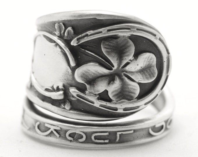 Good Luck Ring, Sterling Silver Spoon Ring, Shamrock Four Leaf Clover, Lucky 4 Leaf Clover Ring, Irish Jewelry, Adjustable Ring Size (7756)