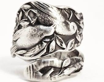 Bird Ring, Sterling Silver Spoon Ring, Birds on a Branch, Bird Jewelry, Love Birds, Antique Paye & Baker, Adjustable, Bird Lover Gift (7501)