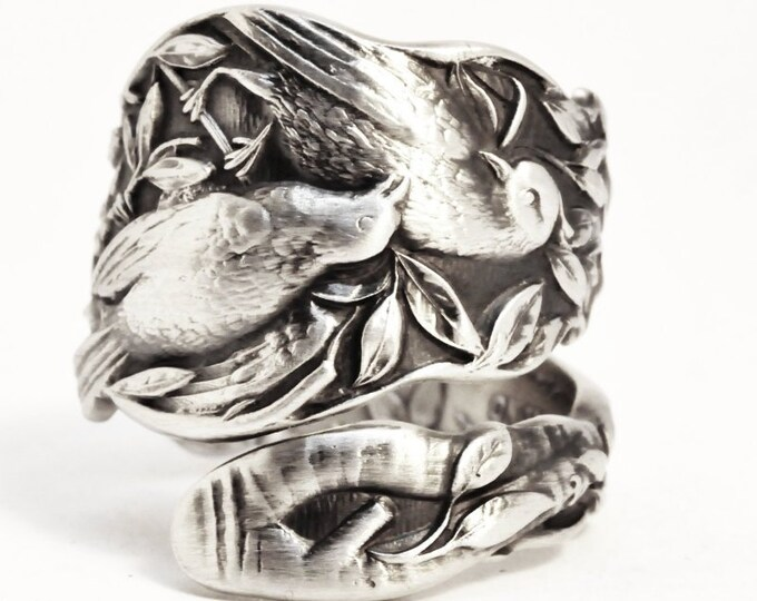Bird Ring, Sterling Silver Spoon Ring, Birds on a Branch, Bird Jewelry, Love Birds, Antique Paye & Baker, Adjustable, Bird Lover Gift (7501)