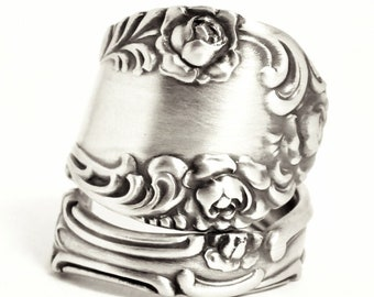 "Victorian Floral Rose ""Old English"" Pattern Sterling Silver Spoon Ring by Towle, Handmade, Adjustable to Your Ring Size, Gift for Her (7530)"