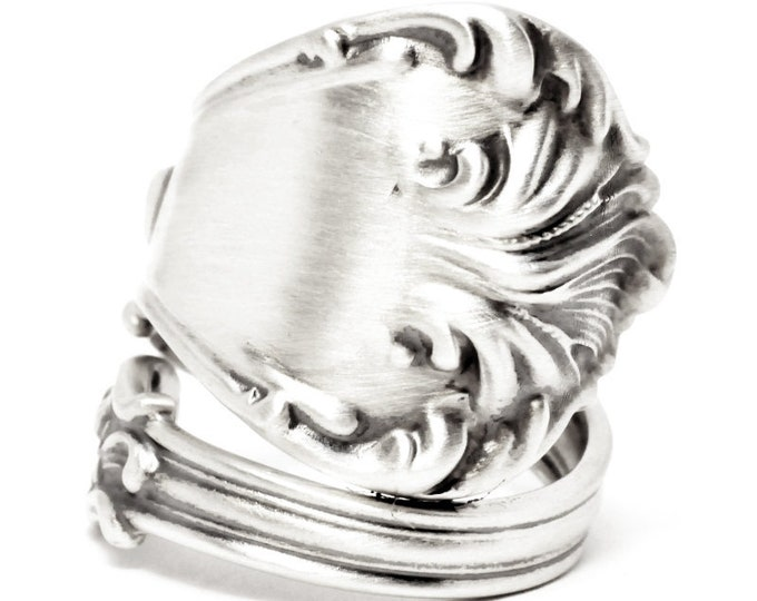 Silver Victorian Shell Ring, Sterling Silver Spoon Ring, Antique Wallace Silver, Custom Ring Size, Organic Minimalist Ring, Custom Size 7600