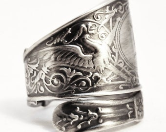 Arabesque Griffin Ring, Sterling Silver Spoon Ring, Griffon Ring, Silver Dragon Ring, Sterling Dragon Jewelry, Mono M, Adjustable Size, 7503