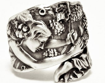 Goddess Ring, Grape Picker Godess Ring, Sterling Silver Spoon Ring, Wine Gifts, Goddess Jewelry, Handmade Jewelry Gift, Adjustable Ring 7559