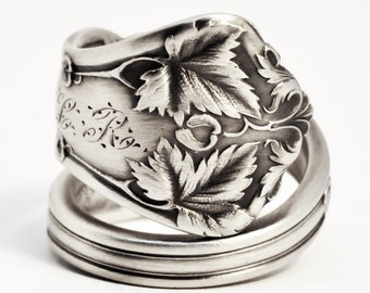 Maple Leaf Jewelry, Nature Inspired Ring, Sterling Silver Spoon Ring, Gift for Her, International Silver Co Edgewood, Adjustable Ring (7512)