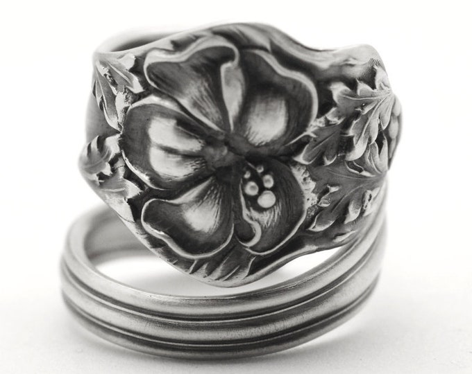 Hibiscus Flower Ring, Spiral Sterling Silver Spoon Ring, Hibiscus Jewelry, Hawaiian Ring, Gift For Her, Floral Ring, Adjustable Size (7749)