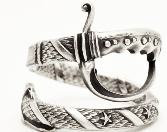 Sterling Silver Sword Spoon Ring, Northern Territory Crest of Australia Ring, Mens Masonic Ring, Handmade Unique Gift, Custom Ring Size 7608