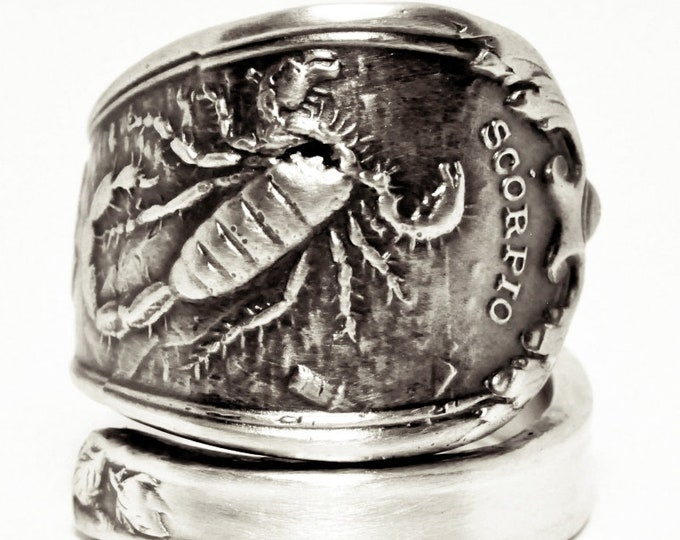 Scorpio Ring, Spoon Ring Sterling Silver, Zodiac Ring, Scorpion Ring, Handmade Gift, Custom Ring Size, Astrology Ring, Horoscope Ring (7565)