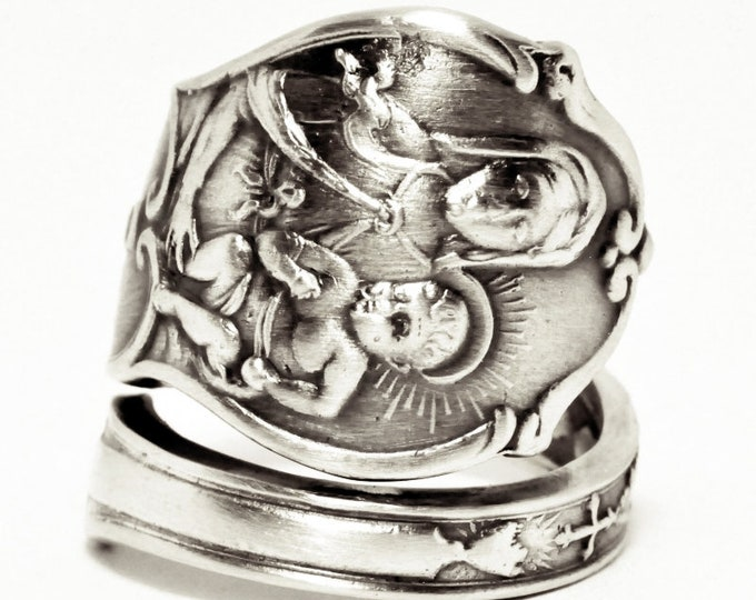 Madonna and Child, Catholic Ring, Sterling Silver Spoon Ring, Mary Jesus, Catholic Jewelry, Crucifix Rosary Ring, Adjustable Ring Size, 7568