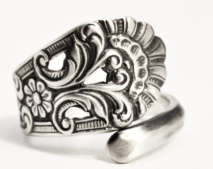 Nordic Spoon Ring, Swirl Ring, Vintage Nordic Design, 830 Sterling Silver, Floral Norse Ring, Handmade Gift Her, Adjustable Ring Size (7516)