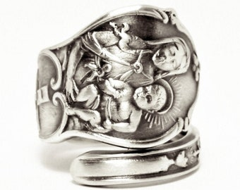 Madonna and Child, Catholic Ring, Sterling Silver Spoon Ring, Mary Jesus, Catholic Jewelry, Crucifix Rosary Ring, Adjustable Ring Size, 7555