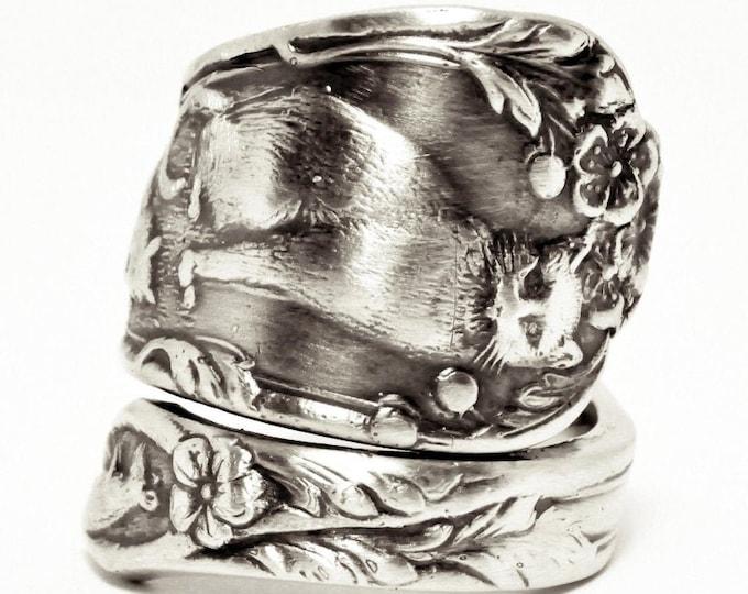 Cat Ring, Kitten Ring, Spoon Ring Sterling Silver Spoon Ring, Playing Animal Ring, Cute Animal, Cat Lover Gift, Adjustable Ring Size (7543)
