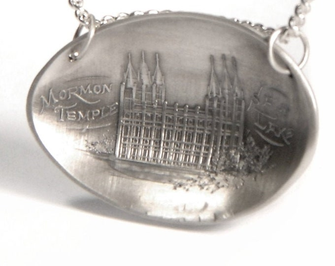 Salt Lake City Necklace, LDS Temple, Sterling Silver Spoon Bowl Necklace, LDS Gift, 925 SLC Temple Necklace, Unique Gift Her and Him (P7261)