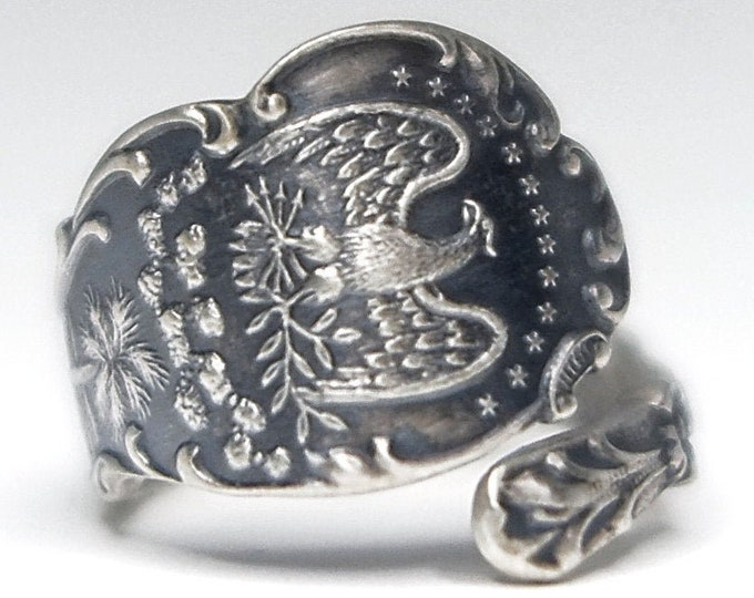 Petite Florida Ring, Sterling Silver Spoon Ring, Souvenir Gift for Her, Unique Florida Ring, Eagle Ring, Adjustable Ring Size 4 5 6 7 (7900)