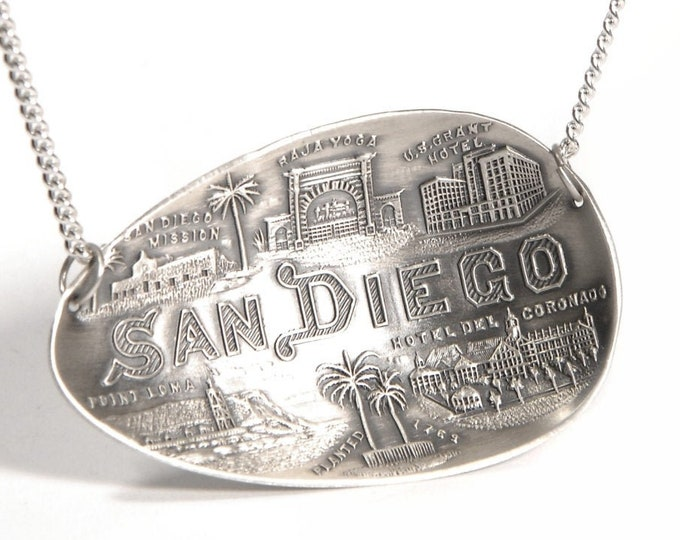 Sterling San Diego Necklace, California Jewelry, Antique Silver Spoon Necklace, 925 San Diego California Lover Gift, So Cal Fashion (P7250)