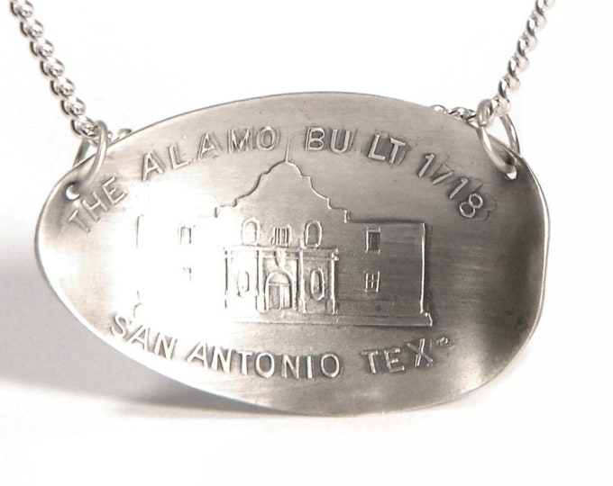 Antique Texas Pendant, Sterling Silver Spoon Pendant, San Antonio The Alamo Necklace, Handmade Jewelry, Eco Friendly Texas Lover Gift (7252)